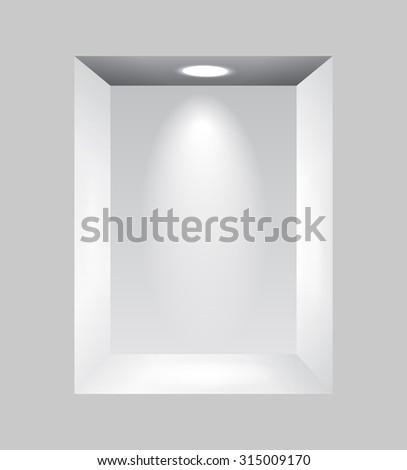 Gray niche for presentations with light lamps.