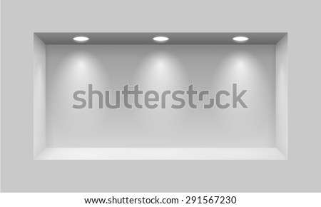 Gray niche for presentations with three light lamps - stock vector