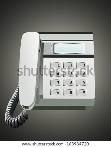 Gray office telephone - stock vector