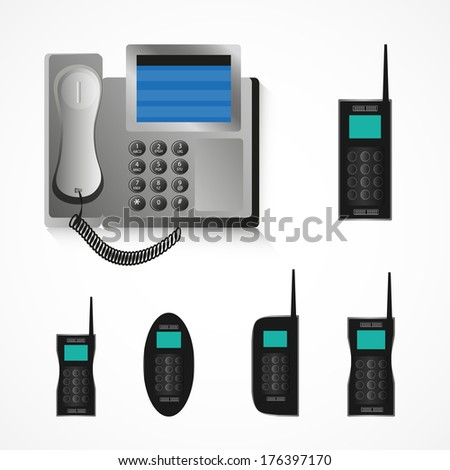Gray office VOIP telephone and card less set collection - stock vector