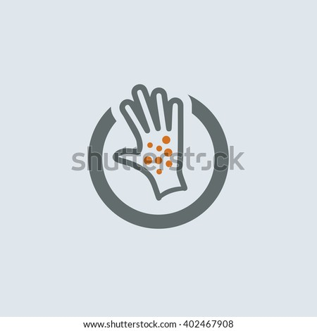 Gray-orange Itchy Palm Round Icon