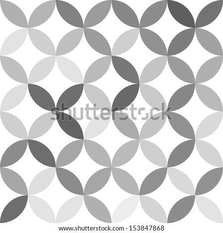Gray overlapping circles abstract geometric seamless pattern on white, vector - stock vector