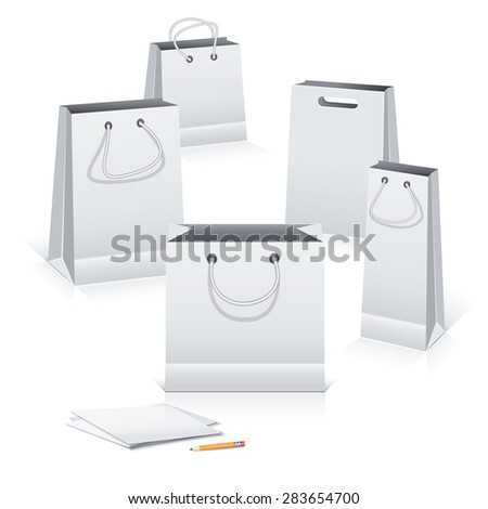 Gray paper shopping bags on white background with pencil and paper sheets. - stock vector