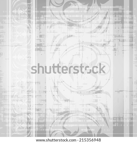 Gray pattern seamless with vertical floral border