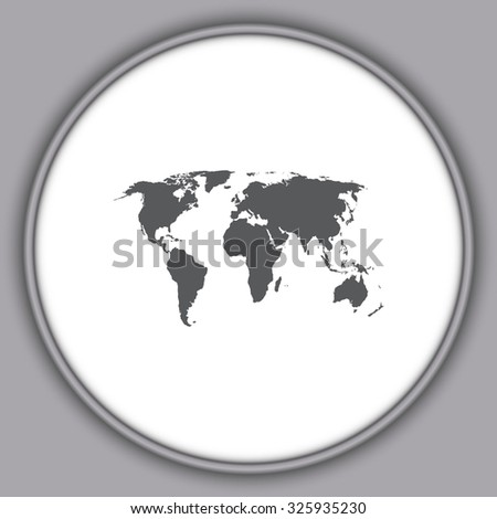 Gray Political World Map Illustration - stock vector