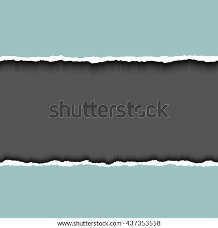 Gray ripped page on dark background, realistic vector illustrator. Frame for text with ripped paper. Torn edges paper