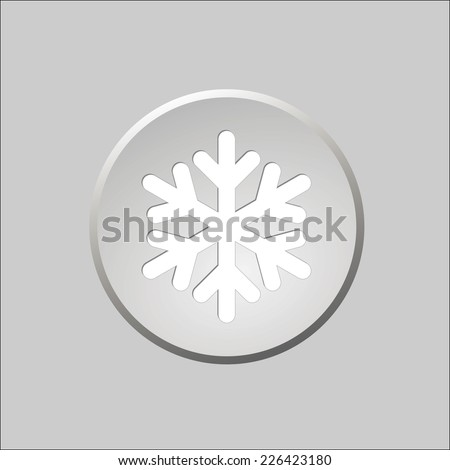 Gray round button with snowflake - stock vector