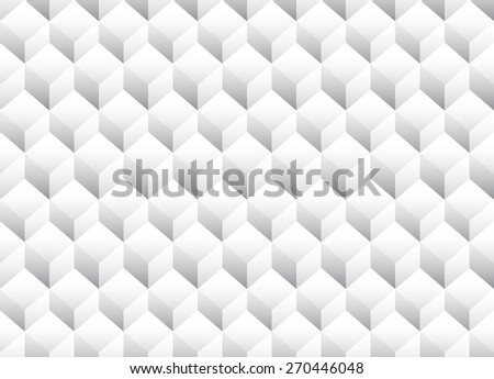 Gray scale 3d Cubes minimal, repeatable pattern (simple seamless, spatial geometry, vector graphics)  - stock vector