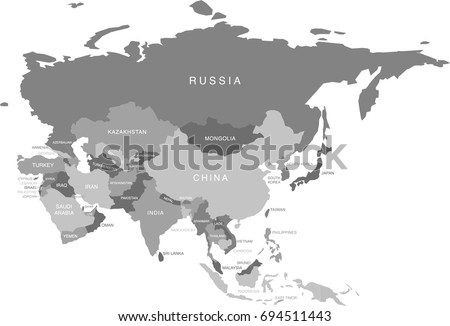 Gray Scale Labeled Map Of Asia And Russia (Labels In Separate Layer)