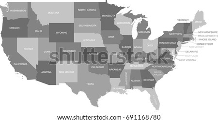 Gray Scale Map United States Labels Stock Vector 691168780