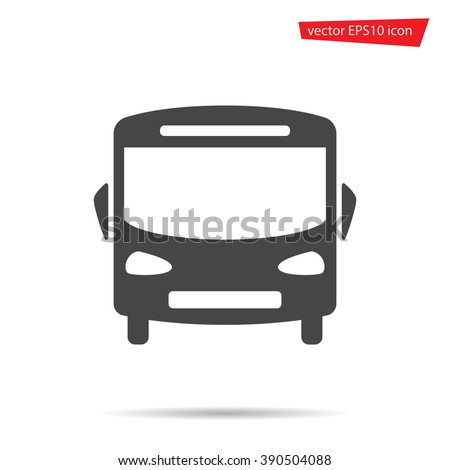 Gray School Bus icon isolated on background. Modern simple flat sign. Travel, Business, internet concept. Trendy vector auto symbol for website design, web button, mobile app. Logo illustration  - stock vector