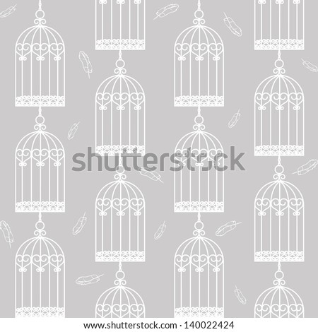 Gray seamless background with birdcages and feathers - stock vector