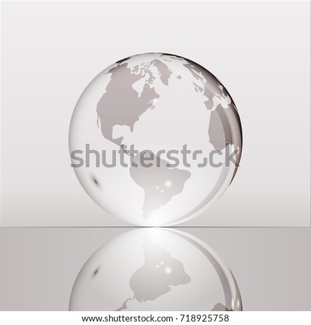 Gray shining transparent earth globe with South and North America continents laying on glass surface and reflecting in it. Bright and shining design. Vector illustration.