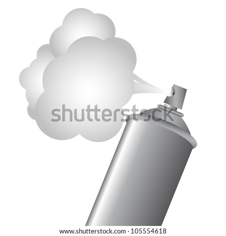 Gray spray bottle with gas cloud, vector illustration - stock vector