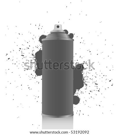 Gray spray tin on white background - stock vector