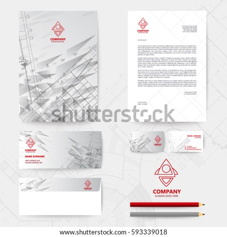 Corporate identity template design blueprint background stock vector gray straight stripes back and template design with blueprint background malvernweather Image collections