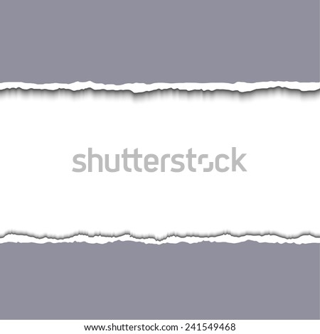 Gray Torn paper pieces background with space for your text. Vector EPS10 illustration. Design elements - paper with ripped edges