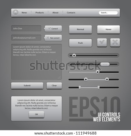 Gray UI Controls Web Elements: Buttons, Comments, Sliders, Message Box - stock vector