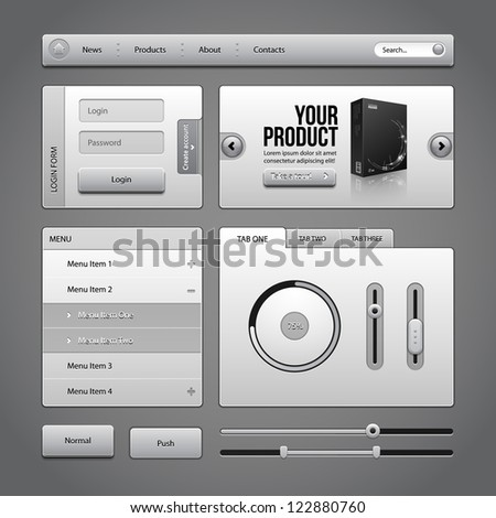 Gray UI Controls Web Elements 4: Buttons, Login Form, Authorization, Sliders, Banner, Box, Preloader, Loader, Accordion, Menu, Tabs, Search - stock vector