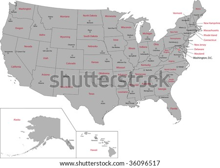 Gray USA map with states and capital cities - stock vector