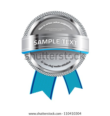 Gray vector glossy glass round badge / banner with metallic decoration and blue ribbons - stock vector