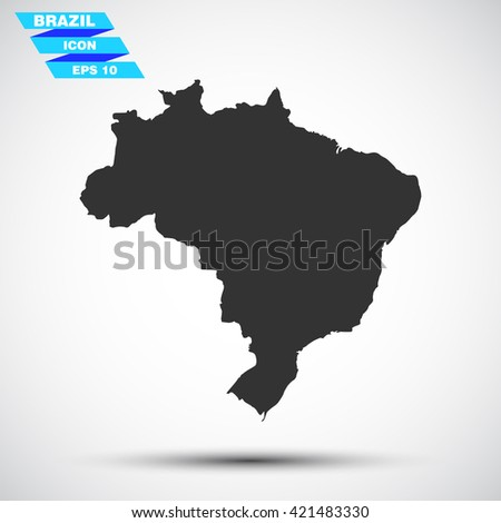 gray vector illustration icon map state brazil on gradient background - stock vector