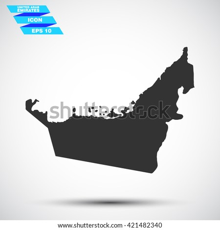 gray vector illustration icon map state united arab emirates on gradient background - stock vector