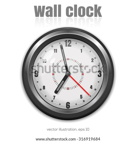 Gray wall clock on a white background, vector illustration