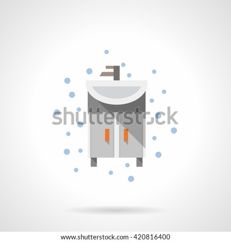 Gray washstand a front view with sink and tap. Bathroom accessories and furniture. Home interior, flat color style single vector icon. - stock vector