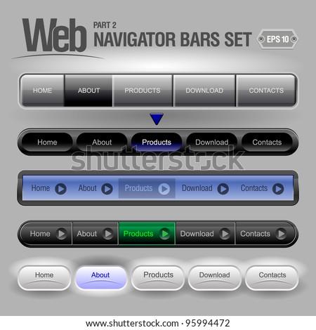 Gray Web Elements Navigation Bar Set - stock vector