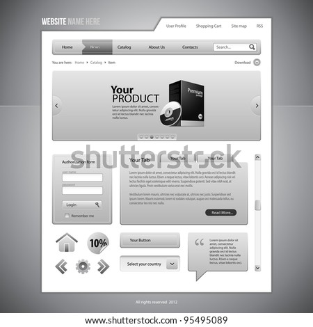 Gray Web Elements Website Design Components: Buttons, Form, Slider, Scroll, Icons, Tab, Menu, Navigation Bar, Login, Speech, Search - stock vector