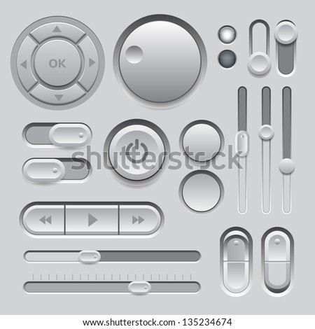 Gray Web UI Elements Design. Elements: Buttons, Switches, Sliders - stock vector