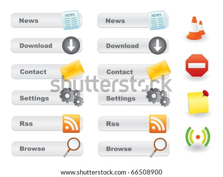 Gray website button set with icons - stock vector