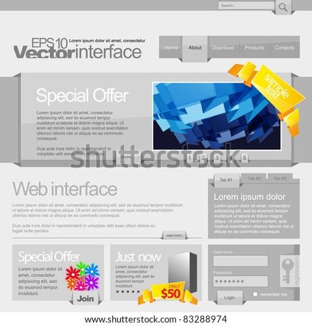 Gray Website Template 960 Grid - stock vector
