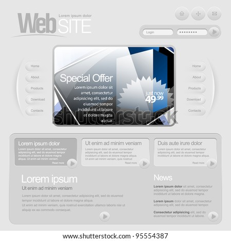 Gray Website Template 960 Grid. - stock vector