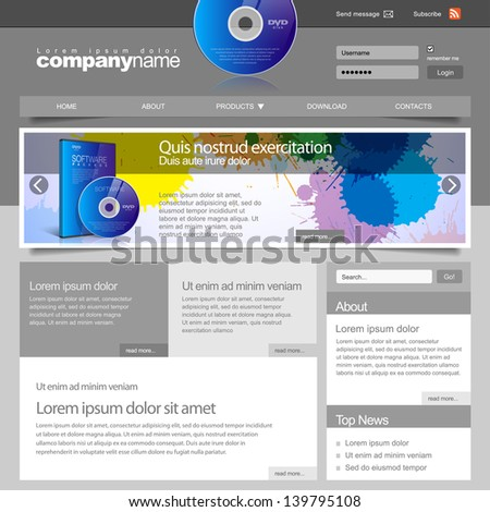 Gray Website Template 960 Grid. For Software firm. vector - stock vector
