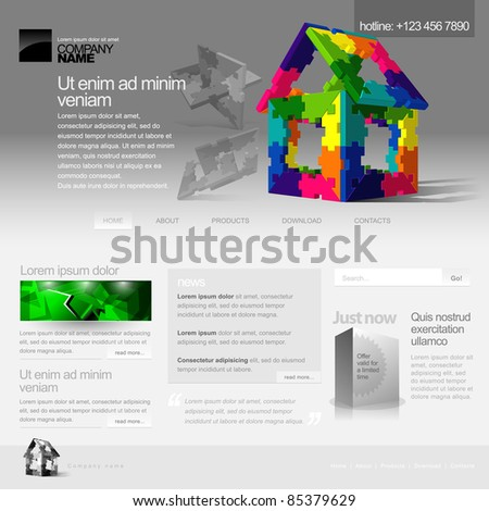 Gray Website Template 960 Grid. Home page - stock vector