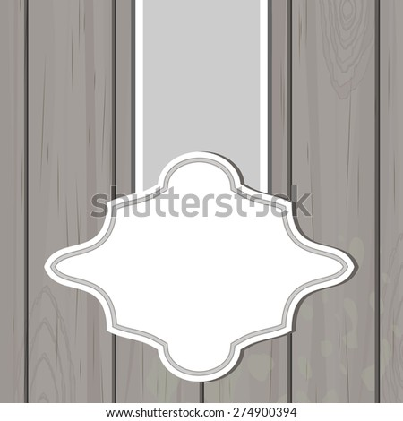 Gray wooden background with blank retro label - stock vector