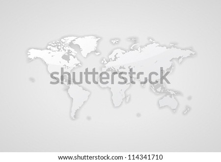 Gray world map. Vector saved as eps-10, file contains objects with transparency. - stock vector