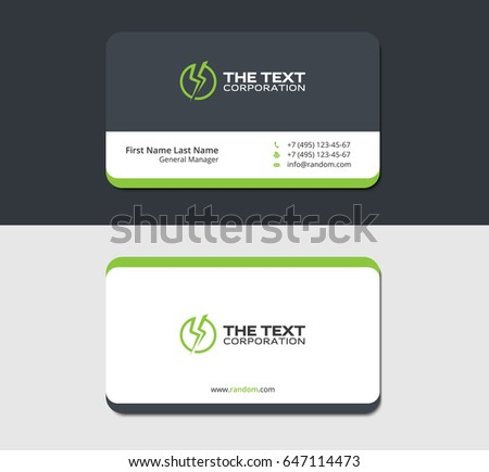 Grayish business card template green energy stock vector 647114473 grayish business card template with green energy label reheart Images