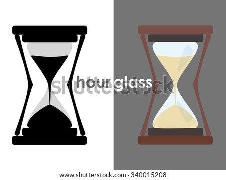 grayscale and color hourglass