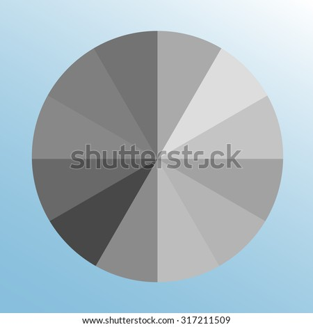 Grayscale Color Swatch Wheel Gray Tints Isolated Object On Light Blue Background