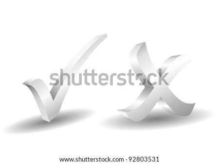 grayscale 3d check and x symbol - stock vector