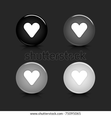 Grayscale glossy round web 2.0 button heart icon with reflection and shadow on gray. 10 eps - stock vector