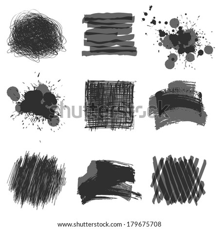 grayscale hand drawn design elements - stock vector