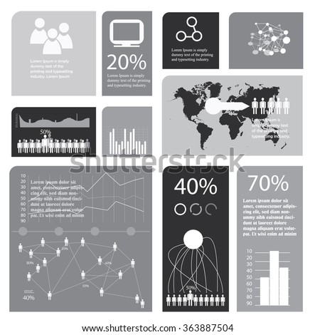 grayscale infographics template with world map - stock vector