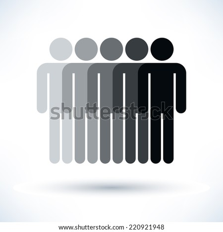 Grayscale logotype five man. Simple silhouette information sign with gray drop shadow isolated on white background in flat style. Graphic clip-art design elements in vector illustration 8 eps - stock vector