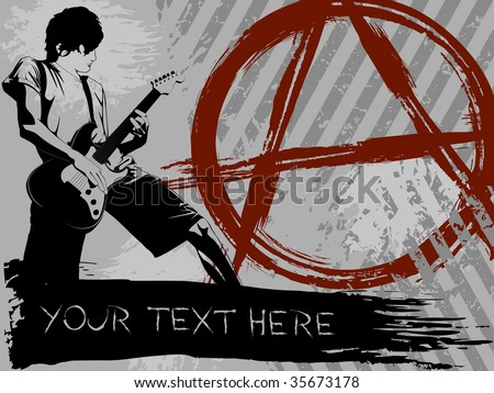 Grayscale Punk Rock background(vector); a JPG version is also available - stock vector