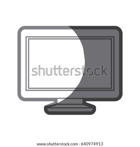 grayscale silhouette of lcd monitor vector illustration