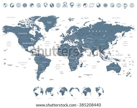 Grayscale world map globe icons illustration vector de grayscale world map and globe icons illustration highly detailed vector illustration of world map gumiabroncs Images